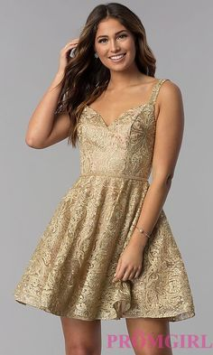 7e14eeddd50 Short Gold Embroidered A-Line Homecoming Dress
