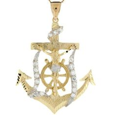 10k Two Tone Real Gold CZ Jesus Crucifix Religious 6.4cm Anchor Pendant Jewelry Liquidation. $536.50. Made in USA!. Made with Real 10k Gold!