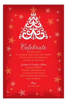 christmas tree on red invitation from paper so pretty