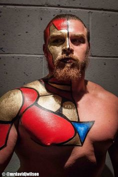 my bodypainting on ICW wrestler Joe Coffey (Iron Man) photograph by David James Wilson Glasgow, 2014 James Wilson, Iron Man, Deadpool, Spiderman, Wrestling, Wall Art, Superhero, David James, Glasgow