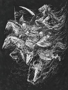 art by Mark Riddick. Dark Artwork, Dark Art Drawings, Metal Artwork, Arte Horror, Horror Art, Horsemen Of The Apocalypse, Satanic Art, Evil Art, Esoteric Art
