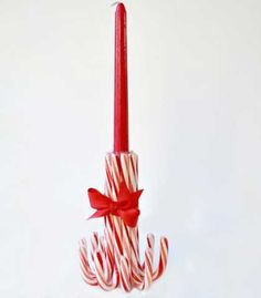 Quick and Easy Homemade Christmas Decorations - Candy Cane Candlestick - Click pic for 25 Inexpensive Christmas Decor Ideas