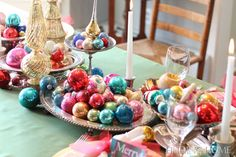 Love this idea of displaying the Vintage Ornaments - Christmas Table Dining