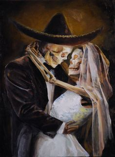 Till Death Do We Part by Carlos Torres.... https://www.flickr.com/photos/carlostorresart/4438760358/sizes/l/in/photostream/  #diadelosmuertos #cowboy #couple #weddingideas #dayofthedeat #painting