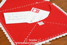 Felt envelope for you kids to say great things about them.  DIY on the envelope too