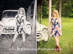 Country Girl Senior Session with classic cars by Beck Impressions Photography
