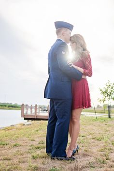 Our air force military engagement pictures Military Engagement Pictures, Military Couple Pictures, Engagement Photo Dress, Military Couples, Military Love, Engagement Photos, Couple Photos, Country Engagement, Military Ball