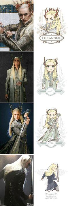 Chibi Thranduil, credit to the artist Lotr Elves, Mirkwood Elves, Tolkien Books, Jrr Tolkien, Legolas And Thranduil, Aragorn, O Hobbit, Middle Earth, Lord Of The Rings