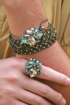 Sunset on the Seine Flex Bracelet and Cluster Ring paired with the Modern Deco Stretch Bracelet