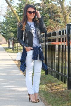"""♥ this look by ALEKSANDRA PANIC """"SKINNY JEANS, LEATHER JACKET & PRINT MIXING"""" http://sashadollfashioncloset.blogspot.ca/2014/04/skinny-jeans-leather-jacket-print-mixing.html"""