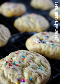 Birthday Cake Protein Cookies:      1/2 cup quick oats, milled     2.5 scoops Cellucor Cor-Fetti Cake Batter whey protein powder     3 tbsp sugar free/fat free Jell-o vanilla pudding mix     1/4 tsp baking powder     1 whole egg     1 egg white     3/4 cup mashed banana     1/4 cup non-fat Greek yogurt     1 tsp vanilla extract     Optional: Extra sprinkles and a few drops McCormick Imitation Vanilla Butter & Nut Flavor