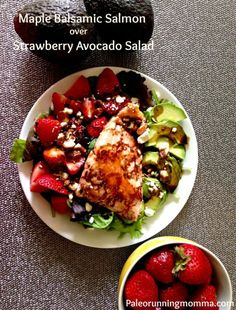 Maple balsamic salmon over strawberry avocado salad