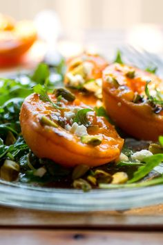 NYT Cooking: Pungent arugula contrasts beautifully with fruit of all kinds. Grilling the apricots deepens their flavor and makes them stand out against the arugula even more. You'll be able to make this beautiful salad only during the summer's short apricot season, and even then, you should buy the fruits at the farmers' market so you can sample them to make sure they are juicy and sweet.