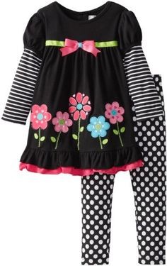 Rare Editions Girls 2-6X Flower Applique Leg Set Toddler - Buy New: $24.99