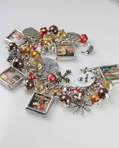 Personalized picture bracelet.  Add your photos, favorite colors and themed charms by Mimi & Moi $170-$240