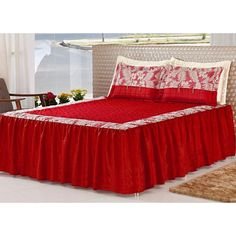 Colcha Casal Queen Desiree 05 Peças Tecido Seda - Vermelho