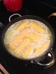 Delicious Corn on the Cob! Fill pot with water then add a stick of salted butter and 1 cup of milk. Bring to a rapid boil. Put ears of corn in turn heat to low simmer for 5-8 minutes ! It will be the best corn on the cob you have ever had !!! Yum!! :)