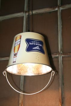 Bar / Man Cave Decor Beer Bucket Pendant Light - Hanging Bucket Lighting. $49.00, via Etsy.