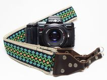 Hemp camera strap with boho pattern, bohemian, folk, ethnic, hippie style, camera accessory, black woven with leather - a unique product via en.dawanda.com