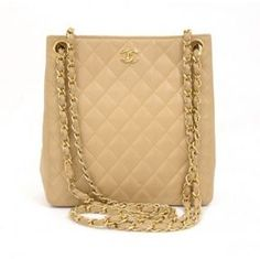 shopstyle.com: very good (VG) Vintage Chanel Beige Quilted Leather Gold Chain CC Shoulder Bag
