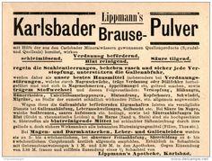 Original-Werbung/Inserat/ Anzeige 1889 - KARLSBADER BRAUSE-PULVER  ca. 80 x 90 mm