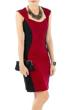Vestido ampulheta vermelho e preto:
