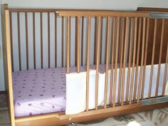Modified crib to help parents with a disability care for their child. Ideal for wheel chair users