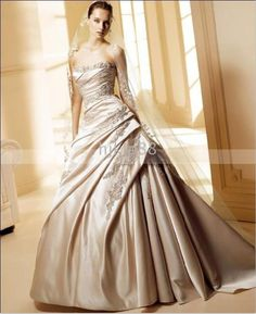 New Arrival Elegant 2016 Wedding Dresses Strapless Satin Applique Beads Bridal Gown A-Line Wedding Dress Chapel Train Online with $121.73/Piece on Hjklp88's Store   DHgate.com