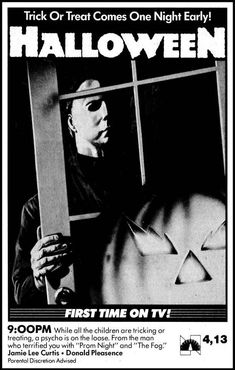 NBC ad for the TV premiere of John Carpenter's Halloween Halloween Film, Scary Halloween, Vintage Halloween, Halloween 2019, Halloween Ideas, Halloween Decorations, Horror Movie Posters, Movie Poster Art, Horror Movies
