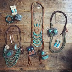 What cowgirl dreams are made of. :cactus::ox::raised_hands: LOVE the middle necklace! Western Chic, Western Wear, Cowgirl Jewelry, Western Jewelry, Cowgirl Clothing, Country Jewelry, Western Turquoise Jewelry, Western Style Clothing, Jewelry Making
