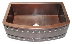 Buy a Farmhouse Copper sink with barrel strap design for the ranch home or cabin in old and dark patina. This single bowl Copper Kitchen Sink with Barrel Straps and rivets on the exterior of the apron front. Copper Farm Sink, Copper Farmhouse Sinks, Farmhouse Sink Kitchen, Copper Kitchen, Copper Sinks, Kitchen Cabinets, Apron Front Sink, Brown Cabinets, Rustic Stone