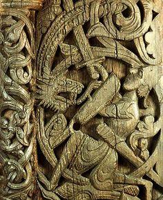 Carved figures in wooden panels at the sides of the entrance to a medieval stave church in Norway illustrate the story of Sigurd the dragon slayer. This tale is alluded to in Beowulf, Njal's Saga, and other ancient works, and is recited with substantial detail in the Prose Edda of Snorri Sturluson and in the thirteenth-century anonymous Icelandic works Saga of the Volsungs and Dietrich's Saga.
