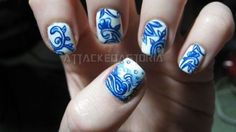 attackedastoria:    blue and white china design.. probably my last nail art until i get out of school, since I had to get lame acrylics put on.    Positively stunning.
