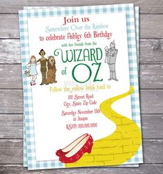 Wizard of Oz Birthday Party Invitation by MonicaGraphicDesign, $13.00