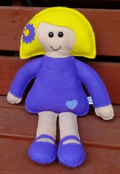 Felt Doll Purple Hand Stitched CE Tested Dolly Doll by DaisyFelts