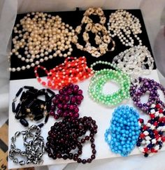 13 Long Vintage Bead Necklaces, some 60 inches, Plastic,Lucite, Shell #Unbranded #StrandString