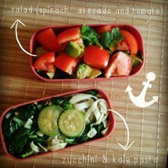 [ Vegan Lunch ]  - Salad (spinach, avocado, tomato) - Eggless pasta  - Kale - Zucchini - Champignon