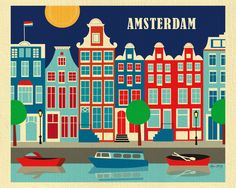 Loose Petals Amsterdam city wall art is retro inspired. Europe travel destination art posters make Amsterdam art gifts for art buyers and interior designers. Retro Poster, Poster Vintage, Vintage Travel Posters, Kunst Poster, Poster Art, Art Posters, Print Poster, Amsterdam Art, Amsterdam Netherlands