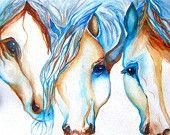 Watercolor horses   http://www.etsy.com/shop/JanetLongArts  www.janetlongarts.com