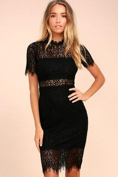The Remarkable Black Lace Dress is the perfect LBD for any occasion! Black  lining creates a cool two-piece look beneath sheer lace as it forms a  rounded ... 369e54bd9