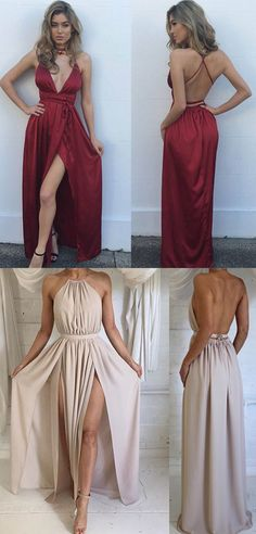 Sexy A-Line Wine Red Split-Front Long Prom/Evening Dress prom,prom dress,prom dresses,sexy prom dress,red prom dress