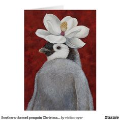 Southern themed penguin Christmas card