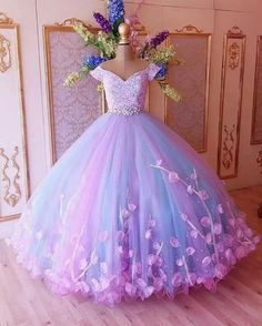 custom drsses Attractive Tulle Off-the-shoulder Neckline Ball Gown Evening Dresses With Lace Appliques & Handmade Flowers & Rhinestones · customdresskoko · Online Store Powered by Storenvy Ball Gowns Evening, Lace Ball Gowns, Ball Gowns Prom, Ball Gown Dresses, 15 Dresses, Cute Dresses, Evening Dresses, Girls Dresses, Tulle Ball Gown