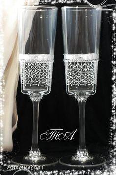 Декор предметов Свадьба Свадебные бокалы Серебро  фото 2