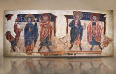 Romanesque frescoes of the Apostles from the church of Sant Roma de les Bons, painted around 1164, Encamp, Andorra. National Art Museum of Catalonia, Barcelona. MNAC