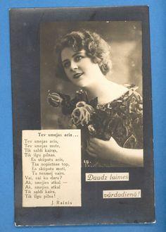 Latvia Beautiful Lady Poem Vintage Photo PC 1332 | eBay -- Daudz Laimes Vardadiena!