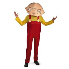 Family Guy Stewie Adult Description: What the deuce? The Family Guy - Stewie costume includes: red and yellow jumpsuit, oversized foam head mask, and PV Family Guy Costumes, Halloween Costumes For Teens, Adult Costumes, Spooky Halloween, Family Guy Stewie, Tv Character Costumes, Movie Costumes, Disney Costumes, Stewie Griffin
