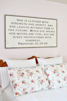 Wood Typography Scripture Sign - At The Picket Fence Scripture Signs, Bible Verses, Scriptures, Girl Nursery, Girls Bedroom, Bedrooms, Little Girl Rooms, Wooden Signs, Decoration