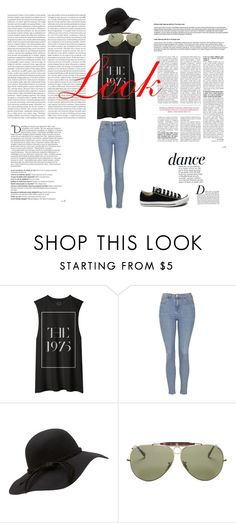 """""""Look"""" by victoria-savchenkova ❤ liked on Polyvore featuring Topshop, Ray-Ban, Converse, Anja, Balmain, women's clothing, women, female, woman and misses"""