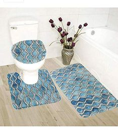 3Ppc//Set Bathroom Non-Slip Pedestal Rug Lid Toilet Cover Bath Mat Carpet NEW hak
